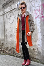 red minimarket boots - green vintage jacket - orange DIY scarf - pink whyred sun