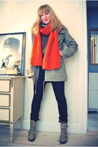 orange DIY scarf - green vintage jacket - beige Topshop boots - black Tiger of S