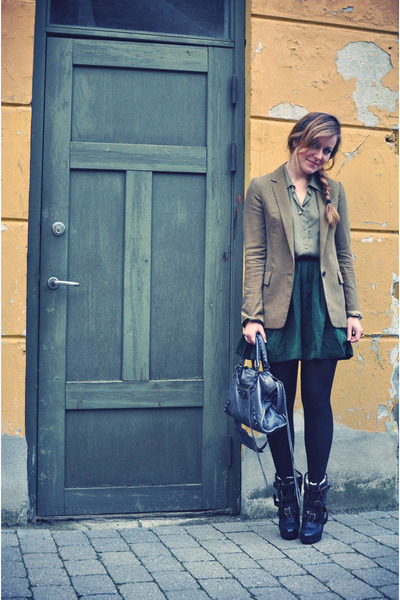 olive green Zara blazer - dark green H&M skirt - olive green H&M shirt - charcoa