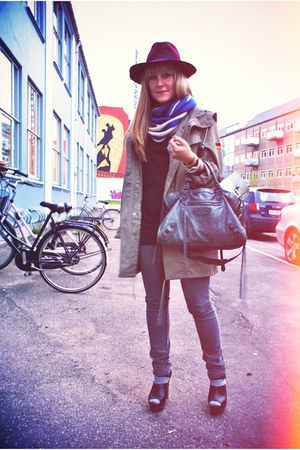 green vintage jacket - gray Cheap Monday jeans - gray balenciaga purse - black Z