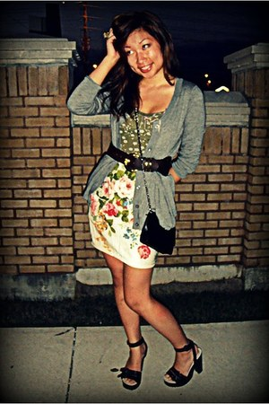 black long strap Chanel purse - dark brown strappy Miu Miu clogs - charcoal gray