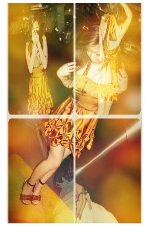 dark brown clog heels Miu Miu shoes - gold self-made dress