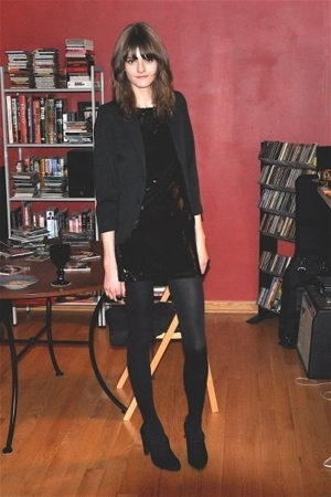 vintage from Screaming Mimis blazer - forever 21 dress - woolford tights - Zara