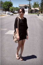 black Forever 21 top - beige Jeffrey Campbell shoes - beige Alexander Wang purse