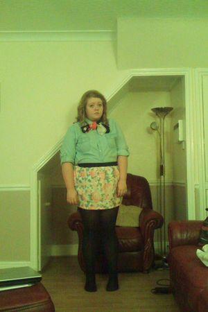 blue Asda shirt - white me&yu skirt - black Topshop tights - red asos accessorie