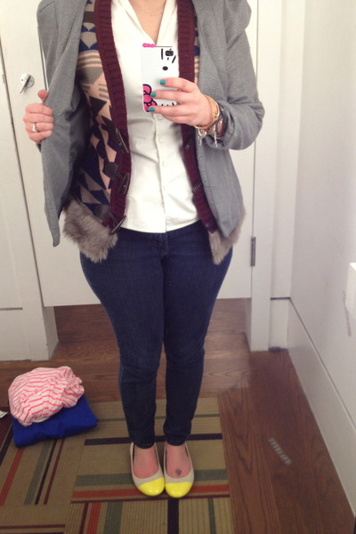 yellow Old Navy flats - navy Levis jeans - silver Silence & Noise blazer