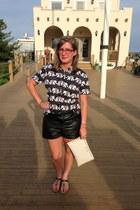 black MIKKAT MARKET shorts - white Michael Kors bag - black chicos top