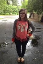 coral Katherine Thrifts shirt - navy abercrombie and fitch jeans