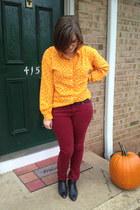 light orange Forever 21 top - black vintage boots - maroon Forever 21 jeans