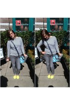 heather gray Target pants - sky blue Jason Wu for Target bag