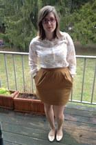 ivory vintage top - burnt orange thrifted vintage skirt