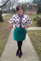 white thrifted vintage blouse - turquoise blue H&M skirt