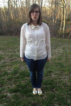 white thrifted vintage blouse - white Target blouse - navy Seven jeans