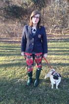 black baublebar necklace - green Hunter boots - red Target jeans