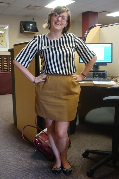 white thrifted blouse - mustard thrifted skirt - black Forever 21 flats