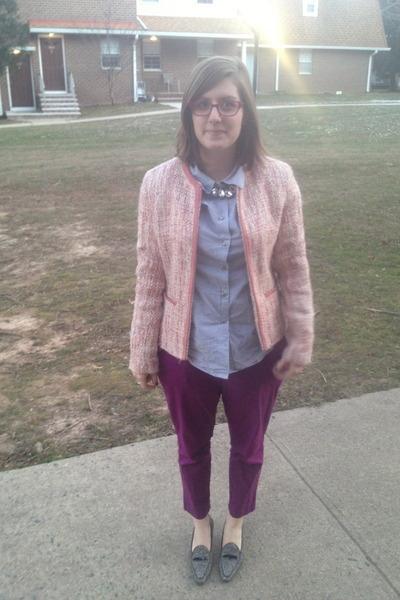 heather gray isaac mizrahi heels - light pink thrifted blazer