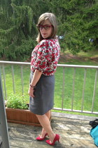 red BonLook glasses - charcoal gray thrifted skirt - white thrifted top