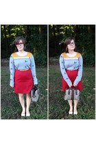 red talbots skirt - gold Urban Outfitters sweater - heather gray Gucci bag