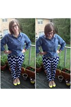 navy Warby Parker glasses - yellow Old Navy flats - navy Old Navy pants