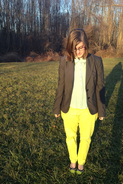 charcoal gray The Limited blazer - black firmoo glasses - lime green lulus top
