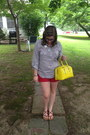 Navy-warby-parker-glasses-yellow-kate-spade-bag-ruby-red-old-navy-shorts