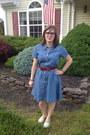 Blue-target-dress-navy-warby-parker-glasses