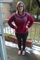 hot pink thrifted sweater - black BonLook glasses - black Gap pants