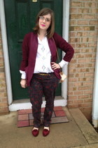 brick red Urban Outfitters blazer - ruby red Seven jeans - white vintage blouse
