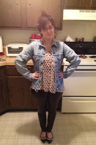 Frock Candy blouse - Levis jacket - pleather pants Forever 21 leggings