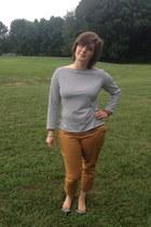 mustard polka dot pants Old Navy pants - black spiked flats Forever 21 flats