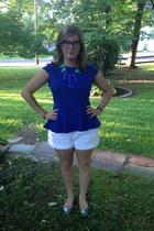 blue wd ny top - white Betsey Johnson shorts - aquamarine ily couture necklace