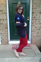 navy NASA top - red Old Navy pants - navy Warby Parker glasses