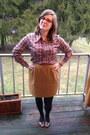 Hot-pink-rivet-sway-glasses-brown-vintage-top-mustard-vintage-skirt