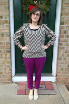 off white Charlotte Russe top - deep purple Old Navy pants