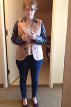 camel Forever 21 jacket - navy Levis jeans - light pink Frock Candy blouse