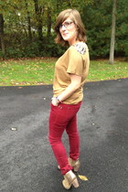 beige Wanted boots - camel Loft top - red Forever 21 pants