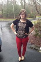 eggshell Forever 21 top - ruby red Old Navy jeans - black  cardigan