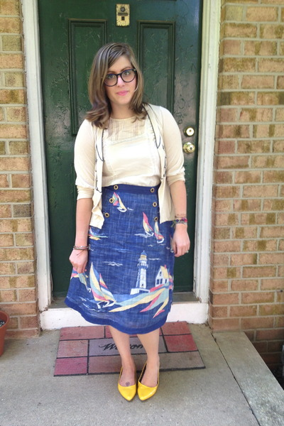 blue thrifted vintage skirt - eggshell from swap cardigan - ivory Gap top