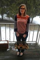 light orange Stella McCartney bag - carrot orange Jcrew top - teal Target pants