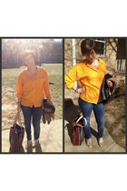 yellow vintage flats - navy Seven Jeans jeans - red  bag