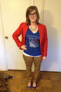 Tan-old-navy-jeans-red-thrifted-blazer-navy-warby-parker-glasses