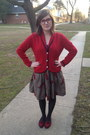 Ruby-red-champs-sweater-tan-thrifted-vintage-skirt-ruby-red-bonlook-glasses