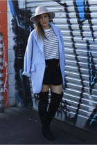 light blue hello parry coat - black Spurr boots - off white Zara t-shirt