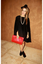 boots - black topshop dress - red vintage bag