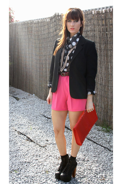 vintage blazer - Jeffrey Campbell boots - vintage shorts - vintage blouse