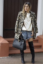 One Teaspoon shorts - Spurr boots - vintage coat - French Connection jumper