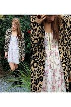 pink Topshop dress - beige vintage jacket - black