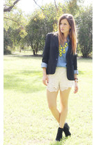 black vintage blazer - blue Sportsgirl shirt - ivory cotton on shorts