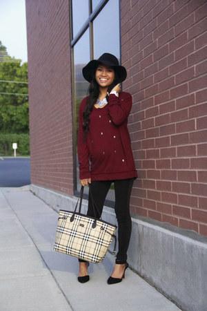 black wool wool hat hat - crimson cotton Skull Sweater sweater