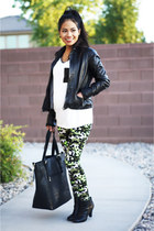 Aeropostale Leather Jacket jacket - Ankle Booties boots - Camo Leggings leggings